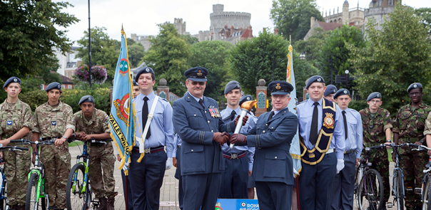 By land and water the Air Cadets 75th Anniversary Torch arrives in the Thames Valley